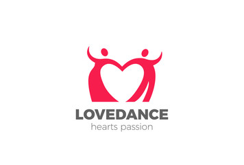 Dancing Couple Heart Logo vector Lovers Dancers Club Dating icon