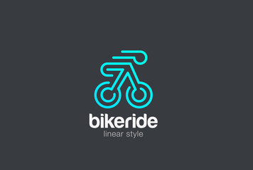 Bicycle Bike Rider Logo vector Linear Riding Sport Logotype icon