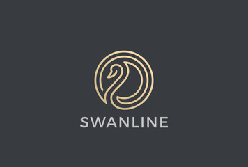 Swan Circle abstract Logo vector. Bird Luxury Fashion Cosmetics
