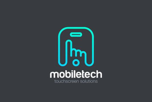 Finger press touchscreen Mobile phone Logo vector.  App icon