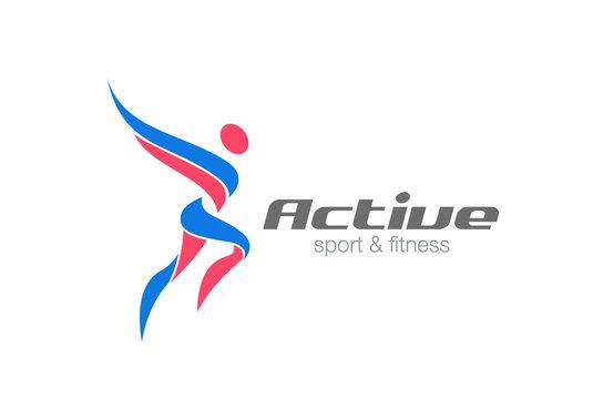 Sport Fitness Winner Champion Man Logo vector. Workout icon