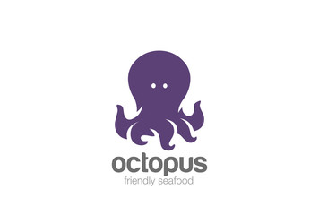 Friendly funny Octopus Logo design vector template