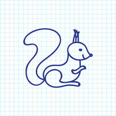 Vector Illustration Of Zoology Symbol On Squirrel Doodle. Premium Quality Isolated Chipmunk  Element In Trendy Flat Style.