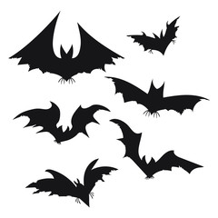 Set of bats for Halloween. Collection of black bats. Silhouettes of flying monsters. The bloodsuckers. Clip art for Halloween. Vampires.