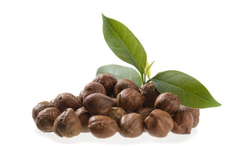Heap of Hazelnut with Leaves Isolated