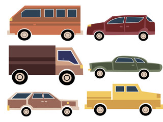 A set of cartoon cars. Collection of old cars. Truck. Transport. Vector illustration.