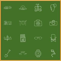 Set Of 16 Editable Travel Doodles. Includes Symbols Such As Eyeglasses, Shovel, Wrist Clock And More. Can Be Used For Web, Mobile, UI And Infographic Design.