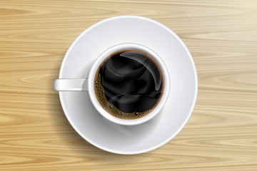 coffee cup and coffee bean on the wooden table