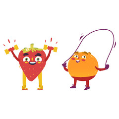Funny fruits, orange and strawberry characters, working out, doing sport exercises, cartoon vector illustration isolated on white background. Funny orange and strawberry, characters, doing sport