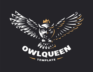 Owl logo - vector illustration. Emblem design on black background