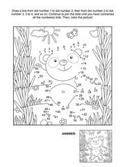 Panda bear in bamboo forest connect the dots picture puzzle and coloring page. Answer included.