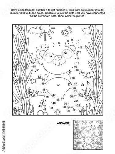 Panda Bear In Bamboo Forest Connect The Dots Picture Puzzle And Coloring Page Answer Included