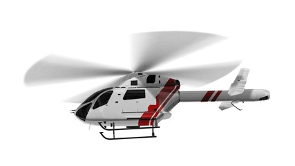 White civilian helicopter in flight isolated on white background