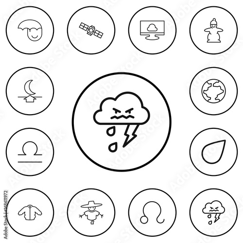 Set Of 12 Editable Weather Outline Icons Includes Symbols Such As