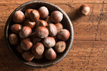 Hazelnuts on a farmhouse table