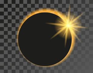 Solar eclipse vector illustration on transparent background