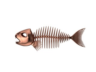 Metallic Fish skeleton. Isolated on white background. 3D rendering illustration.