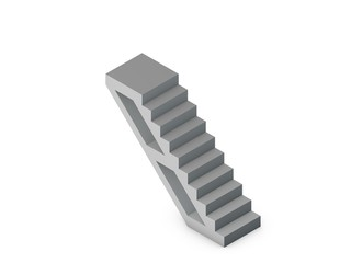 Stairway. Isolated on white background. 3D rendering illustration.