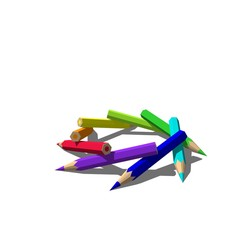 Color pencils. Isolated on white background. 3D rendering illustration.