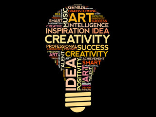 Creativity bulb word cloud concept