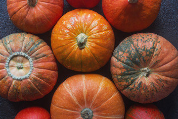 Organic ogange pumpkins on wooden table, thanksgiving pumpkin background, autumn harvest