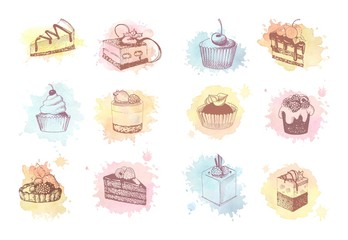 Watercolor sketches of cupcakes, berry pie and cake