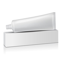 Vector plastic tube with white box for medicine or cosmetics - toothpaste, cream, gel, skin care. Packaging mockup template