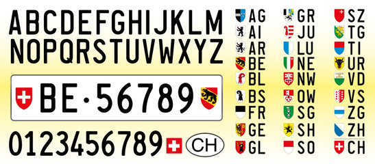 Switzerland car plate, letters, numbers and symbols