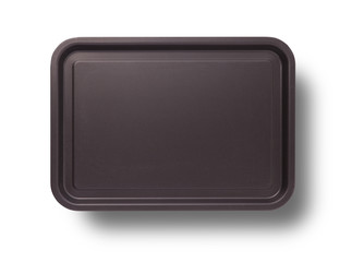 Empty baking tray with shadow close up top view isolated square. Mock up for design