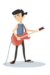 Man plays rock.