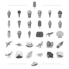 Different types of ice cream and other web icon in monochrome style.. Dinosaurs, Jurassic period icons in set collection.
