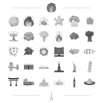 travel, landmark, monument and other web icon in black style.war, danger, weapons icons in set collection.