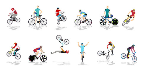 Riding bicycle illustration.
