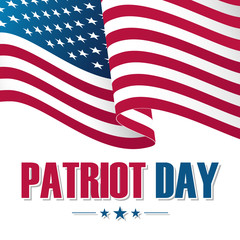 Patriot Day background with waving United States national flag. Vector illustration.