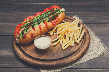 American fast food - hot dog and french fries