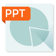 PPT document. File format square icon.