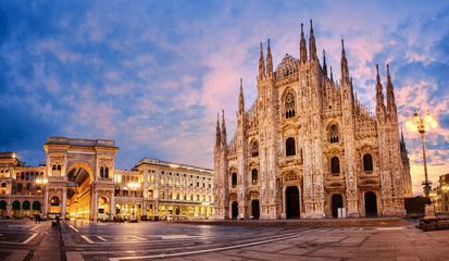 Photo on textile frame European Famous Place Milan Cathedral on sunrise, Italy
