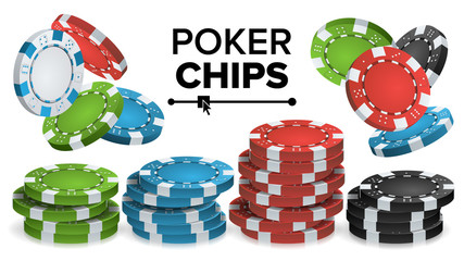 Casino Chips Stacks Vector. 3D Realistic. Colored Poker Game Chips Sign Illustration.