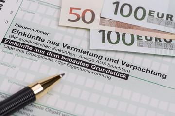 Steuererklärung für Finanzamt mit Einkünfte aus Vermietung und Verpachtung