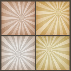 Abstract Vintage Sunbeams Backgrounds Set