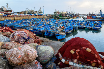 Blue traditional boats parked on the harbor in Essaouira, Morocco
