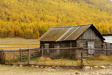 Siberian wooden houses in olkhon island,Russia.