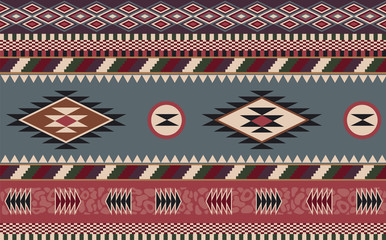 Abstract ethnic pattern. Background in navajo style. Tribal design. Seamless Native American pattern. Can be used for the design of textiles, fabrics, wallpapers and backgrounds