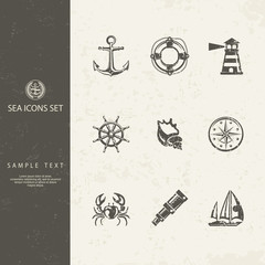 Nautical objects and icons for marine labels logos, Vector