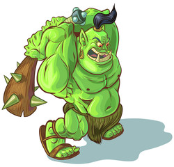 Vector Cartoon Troll Orc or Ogre with Raised Club