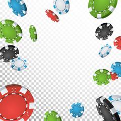 Poker Jackpot Winner Background Vector. Falling Explosion Casino Chips Illustration. For Online Casino, Card Games, Poker, Roulette. Transparent