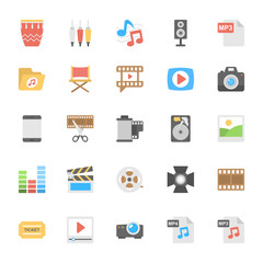 Multimedia Flat Colored Icons 2
