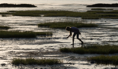 A silhouette of a young girl amongst the marshes at low tide on the Wadden Sea in Denmark