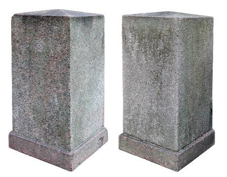 Two granite old vertical rectangular blocks