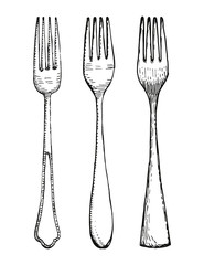 Forks set vector. Hand drawing